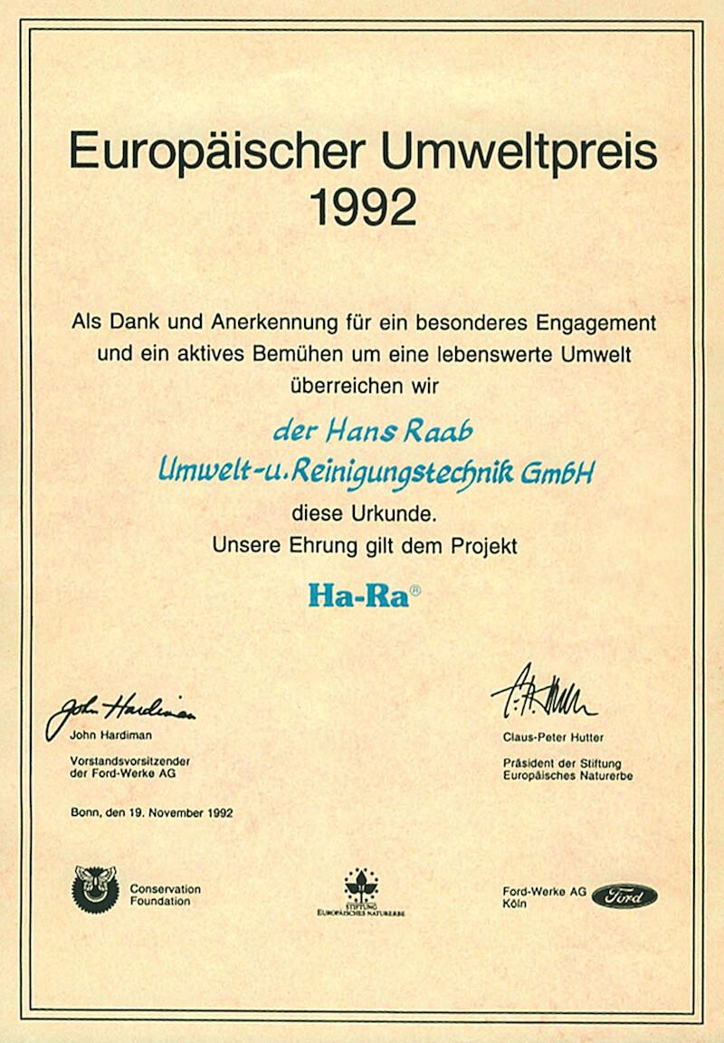 European Environmental Award 1992 Seen On Ha Ra NZ